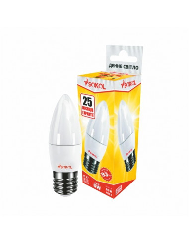 Светодиодная LED лампа свіча 6w 220В E27 4100К Sokol