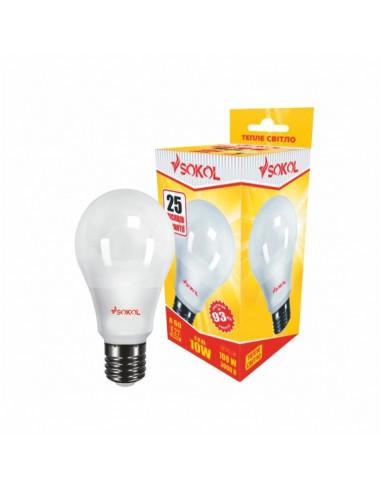 Светодиодная LED лампа A60 10w 220В E27 3000К Sokol