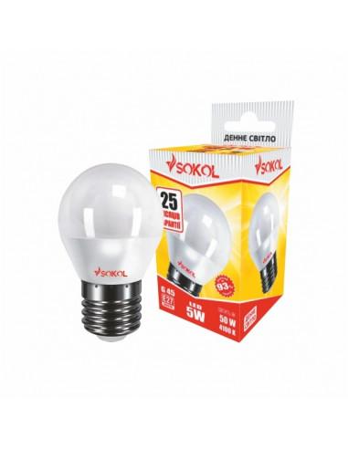 Светодиодная LED лампа G45 5w 220В E27 4100К Sokol