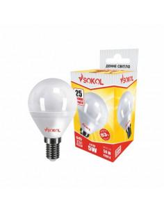 Светодиодная LED лампа G45 5w 220В E14 4100К Sokol