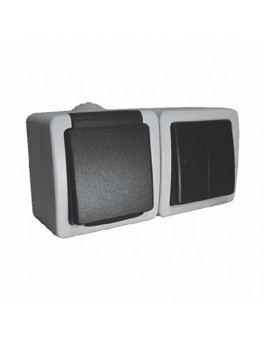 Выключатель 2кл + розетка с заземлением влагозащищенный IP54