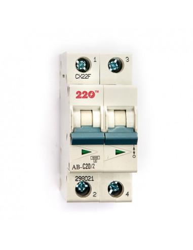 Автоматический выключатель 2Р 20А (6кА) ТМ 220