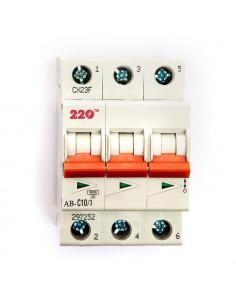 Автоматический выключатель 3Р 10А (6кА) ТМ 220
