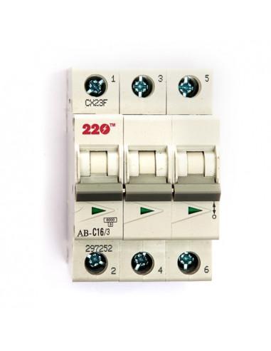 Автоматический выключатель 3Р 16А (6кА) ТМ 220