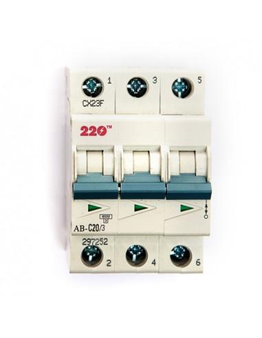 Автоматический выключатель 3Р 20А (6кА) ТМ 220