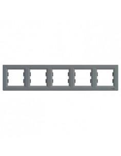 Рамка Schneider Asfora 5-местная горизонтальная сталь EPH5800562