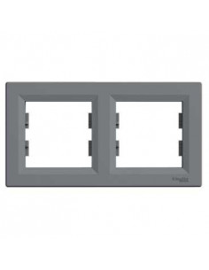 Рамка Schneider Asfora 2-местная горизонтальная сталь EPH5800262