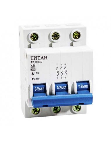 Автоматический выключатель 3Р 63А (6кА) Титан