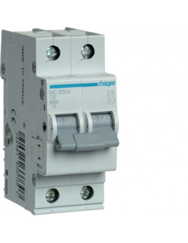 Автоматический выключатель MC206A 6А 2P С (6кА) Hager