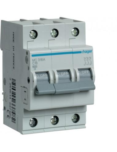 Автоматический выключатель MC316A 16А 3P С (6кА) Hager