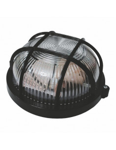 Светильник НПП-65 круг черный прозрачный с решеткой