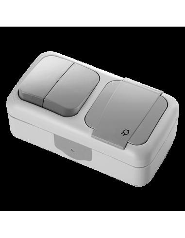 Блок VI-KO Palmiye выключатель 2кл + розетка с заземлением