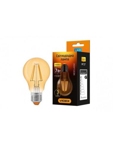 Лампа LED Filament A60FA 7w E27 2200K бронза Videx