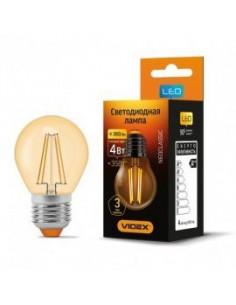 Лампа LED Filament G45FA 4w E27 2200K бронза Videx