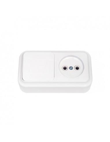 Блок выключатель 1кл + розетка без заземления В-РЦ-521 Пралеска