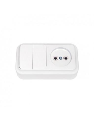 Блок выключатель 2кл + розетка без заземления 2В-РЦ-523 Пралеска