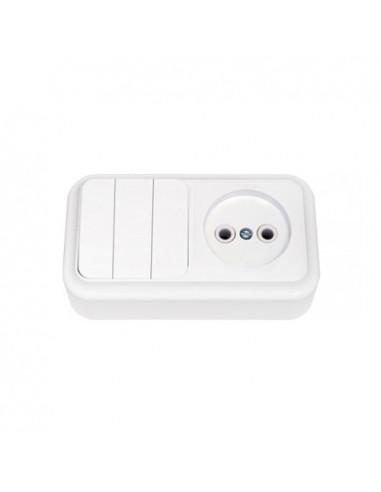 Блок выключатель 3кл + розетка без заземления 3В-РЦ-525 Пралеска