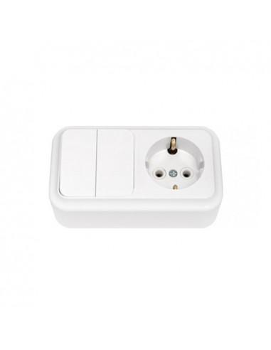 Блок выключатель 2кл + розетка с заземлением 2В-РЦ-529 Пралеска