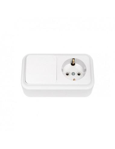 Блок выключатель 1кл + розетка с заземлением В-РЦ-527 Пралеска