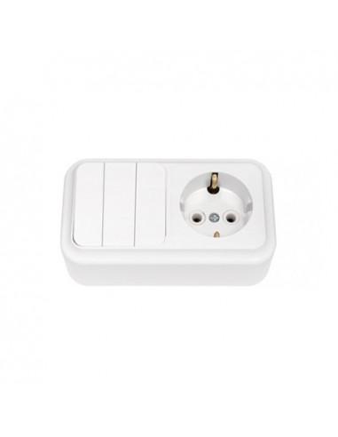 Блок выключатель 3кл + розетка с заземлением 3В-РЦ-531 Пралеска