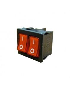 Переключатель 2кл красный с подсветкой KCD9