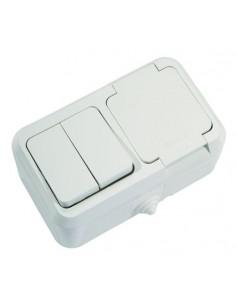 Выключатель 2кл + розетка с заземлением с крышкой ІР55 белый