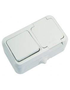 Выключатель 1кл + розетка с заземлением с крышкой ІР55 белый