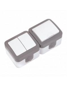 Блок Baysal Alfa выключатель 2кл + розетка с заземлением IP44