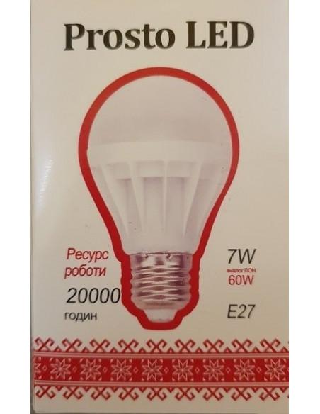 Светодиодная LED лампа A60 7w 220В E27 4100К Prosto