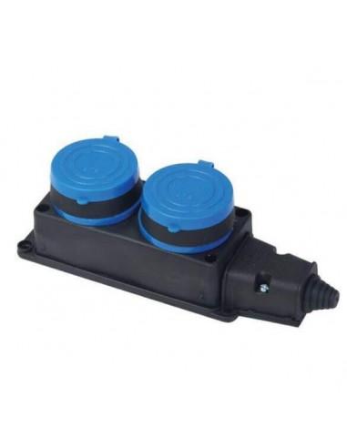 Розетка двойная монофазная 1х16А каучук FAR (F160)