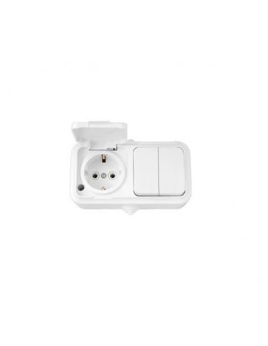 Выключатель 2кл + розетка с заземлением с крышкой В-РЦ-659 IP54 Пралеска Аква