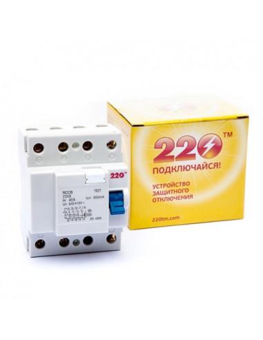 Устройство защитного отключения ПЗВ-4 40А/0.3А 4Р ТМ 220