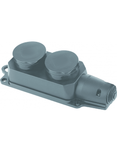Розетка тройная 1х16А каучук чорні загл FAR (F280)