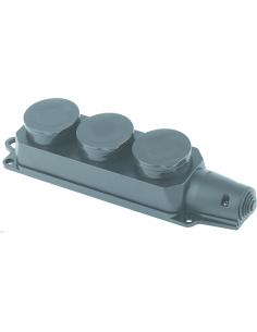 Розетка тройная монофазная 1х16А каучук блак загл FAR (F100)