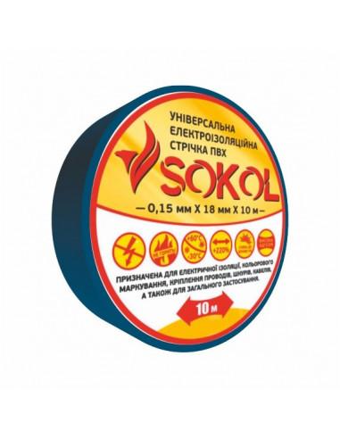 Изоляционная лента 0.15мм х18мм х10м синяя Sokol