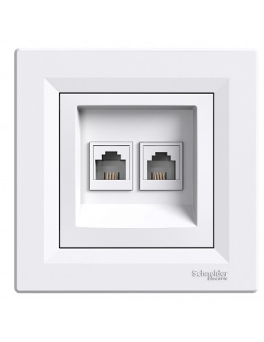 Розетка Schneider Asfora двойная компьютерная белая EPH4900121
