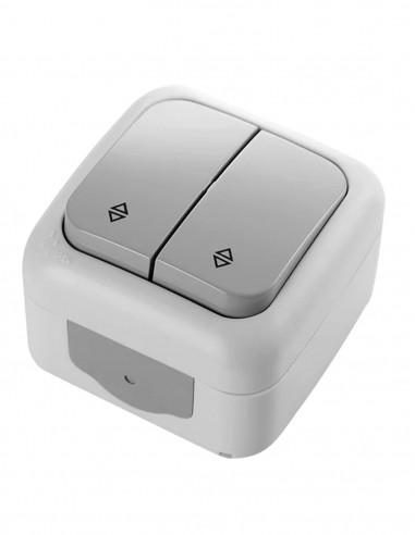 Выключатель VIKO Palmiye двухклавишный серый IP54
