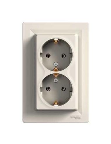Розетка Schneider Asfora двойная с заземлением крем EPH9900123